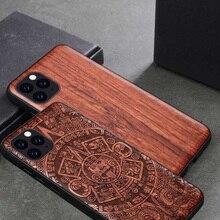 Personnalisé En Bois Sculpté Pour iPhone 11 Cas funda Sur iPhone 11 Pro iPhone X XR XS Max 6 6s 7 8 Plus En Bois TPU Étui De Protection