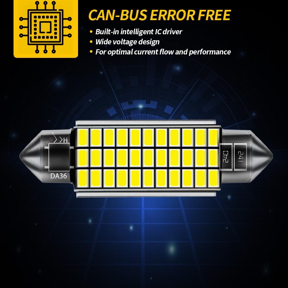 AILEO 1x C10W C5W LED Canbus Festoon 31mm 36mm 39mm 42mm for car Bulb Interior Reading Light License Plate Lamp White Free Error 3