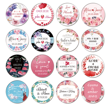 100pcs Round Wedding stickers Add your name and date Candy gift box label Baby birthday pa rty logo White adhesive Transparent logo name plate stickers tape for baby shower wedding name tag gift logo label wedding name and date stickers custom free logo