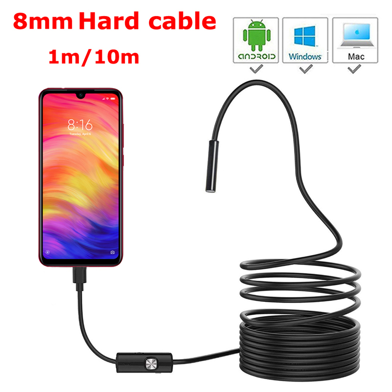 8mm HD Lens 1M 2M 5M 10M Hard Cable Android USB Endoscope Camera Led Light Borescopes Camera For PC Android Phone