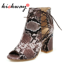 Women Summer Boots Peep Toe High Heel Ankle Boots Zipper Chelsea Boots Ladies Cross Tied Snake Printing Pu Leather Black Size 43 prova perfetto euramerican pointed toe chunky heel chelsea boots women black white genuine leather cross tied knight boot female