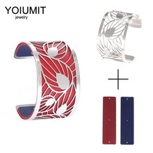 Yoiumit Leaf Cuff Bracelets Manchette Femmes Bijoux Stainless Steel Bracelet Bangles For Women Interchangeable Leather Bangle(China)
