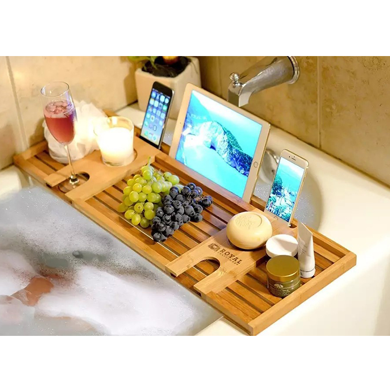 Image result for bamboo bathroom bathtub caddy tray