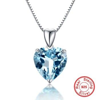Natural Blue Topaz Pendant Sterling Silver Necklace