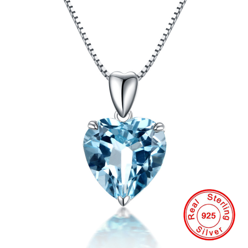 Natural Blue Topaz Pendant 925 Sterling Silver Necklace For Women Heart Blue Crystal Gemstone Pendant Necklace Birthday Gift