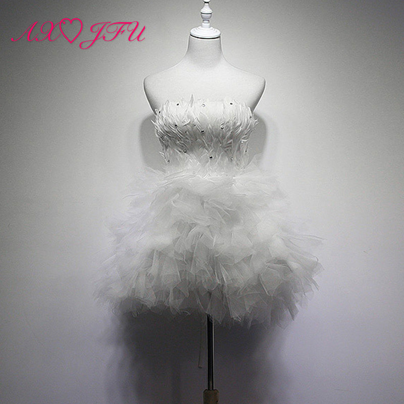 AXJFU White feathers diamond short evening Dresses annual dinner short pink lace black bride evening Dresses little white dress