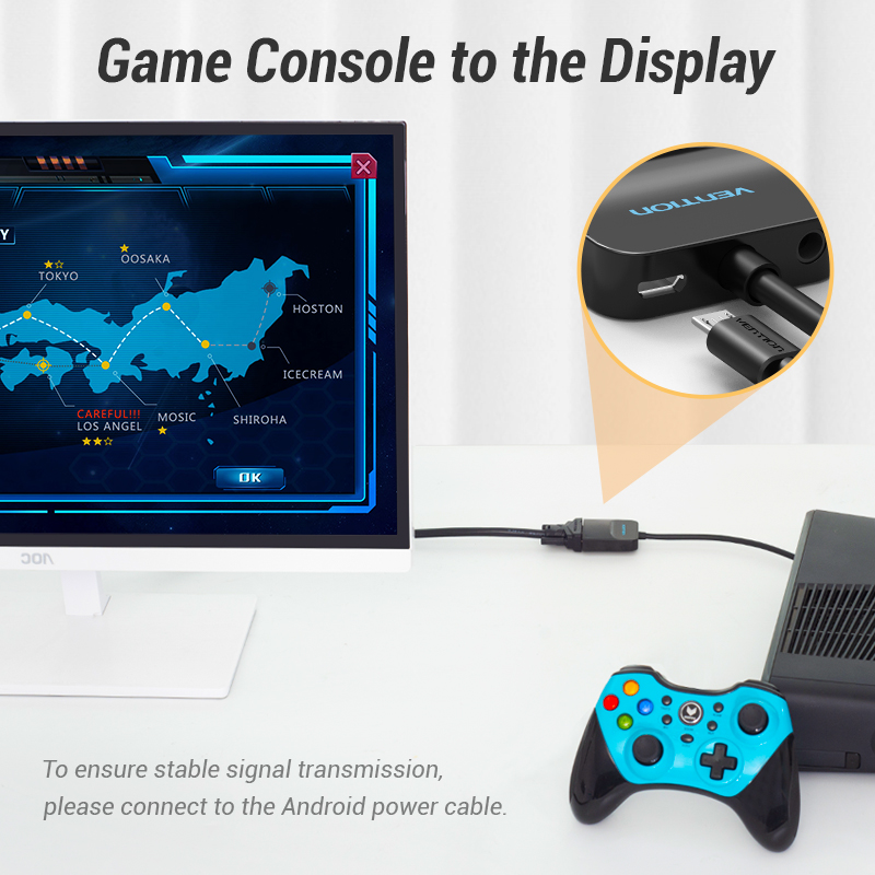 Vention HDMI в VGA конвертер 1080P цифро-аналоговый для ноутбука Xbox PS4 ТВ проектор Видео Аудио Кабель VGA в HDMI адаптер