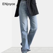 2020 niebieski Vintage Skinny Flare nogi wysokiej talii eleganckie spodnie dżinsowe lato koreański stylowy Tassel porwane jeansy damskie spodnie tanie tanio ENJOYCE COTTON Pełnej długości Osób w wieku 18-35 lat 200511729 WOMEN Na co dzień Stripe Wysoka Zipper fly Fałszywe zamki