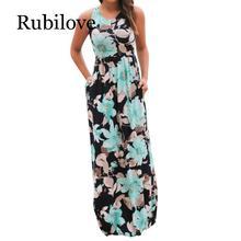 Rubilove Summer Casual Clothing Sexy Womens Sleeveless Beach Long Dress Elegant Ladies Boho Floral Printed Maxi Party Dresses