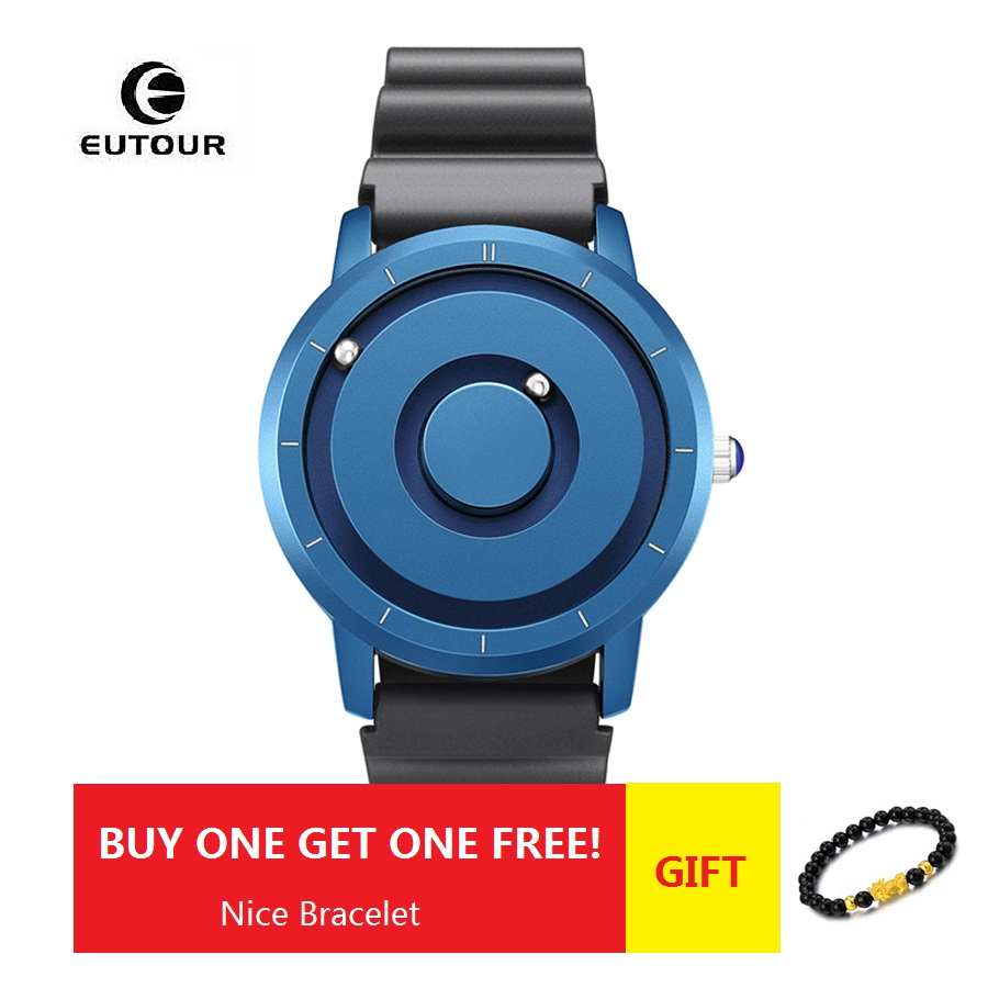 Gold Magnetic Watch Men Luxury Brand EUTOUR Casual Silicone Fashion Quartz Magnet Ball Sport Watch Waterproof Relogio Masculino