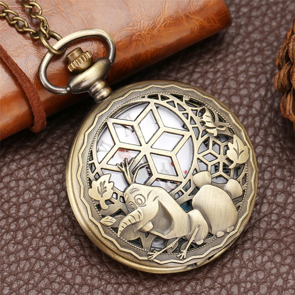 Cartoon Snow Theme Quartz Pocket Watch Souvenir Necklace Pendant Clock Bronze Sweater Chain Pocket Clock Gifts Kids