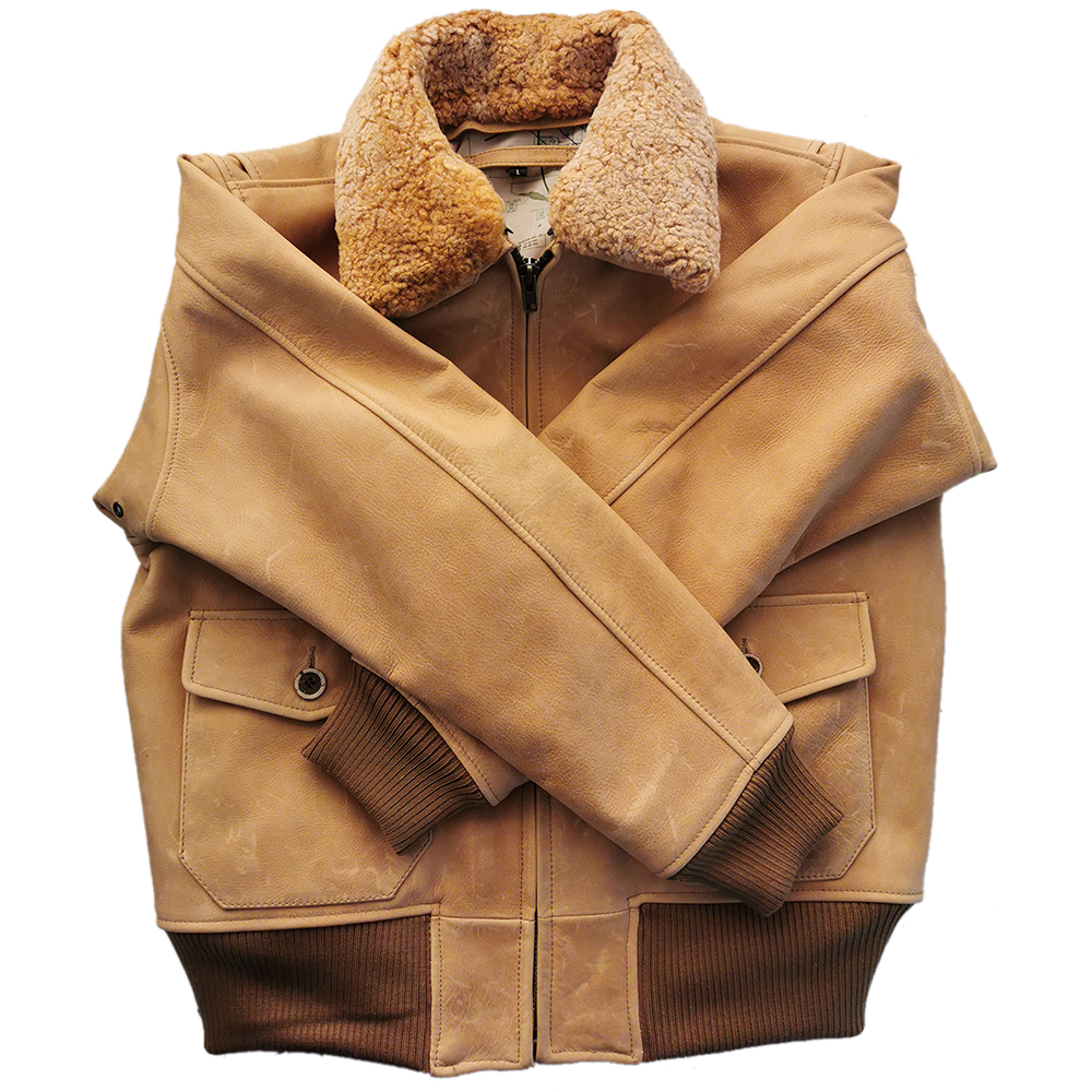H03a23d02b8f84425af5cc2d3af11d15bA Vintage Distressed Men Leather Jacket Quilted Fur Collar 100% Calfskin Flight Jacket Men's Leather Jacket Man Winter Coat M253