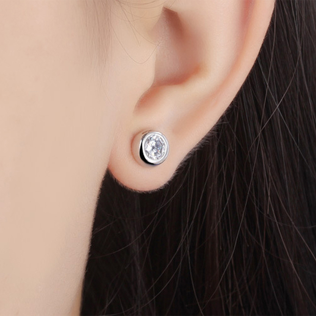 925 sterling silver earrings stud white zircon earrings Micro Inlay cubic zirconia stud earrings 1