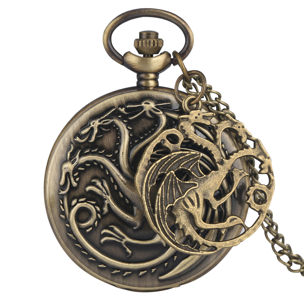 Delicate Three-headed Dragon Pattern Quartz Pocket Watch Male Clock Practical Slim Chain Necklace Women Accessory Zak Horloge