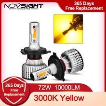 NOVSIGHT 자동차 헤드 라이트 H4 LED H1 H3 H7 H11 H8 H9 H13 9005 9006 9007 안개등 3000K 옐로우 10000LM 72W 자동 전조등 전구