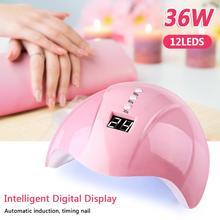 цена на 36W Smart Gel Lamp Quick-drying Nail Light Three-Gear Timing Nail Lamp Intelligent Induction LED Uv Lamp Professional Nail Dryer