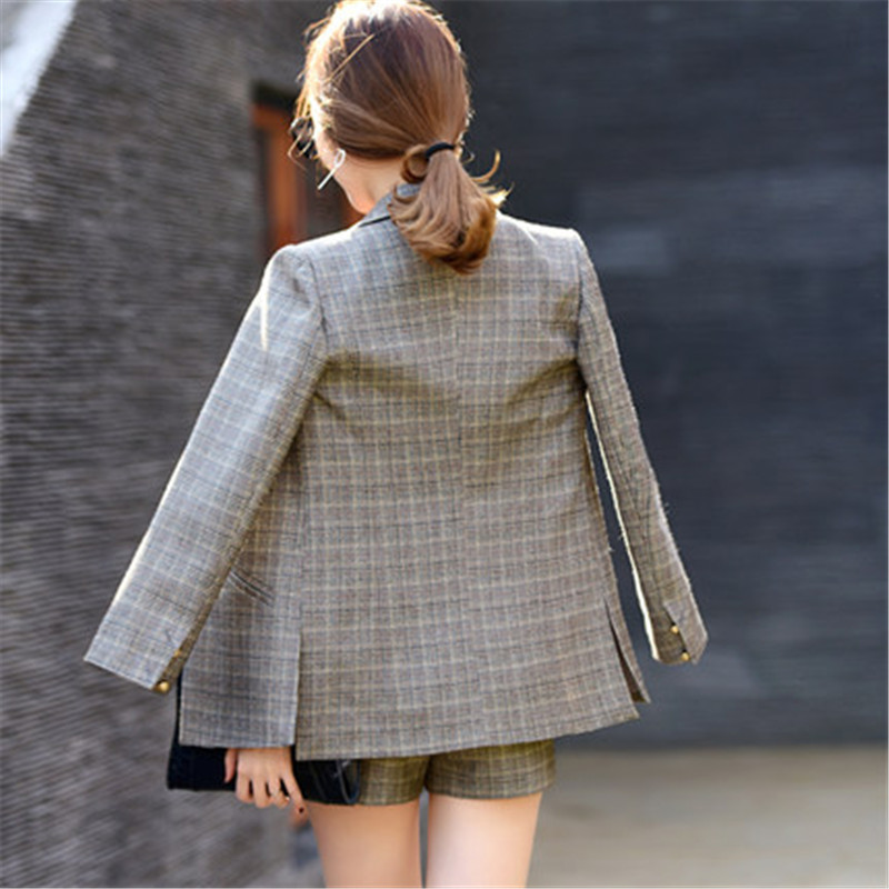 2020 Spring Summer Womens Business Suits Polyester Retro Lattice Calca Feminina Mid Long Blazer Shorts Blazer Set CJ067