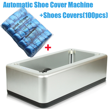 Silver Automatic Shoe Cover Machine Intelligent Shoe Sleeve Tool Disposable Foot Cover Machine Shoe Film + 100pcs Shoes Covers