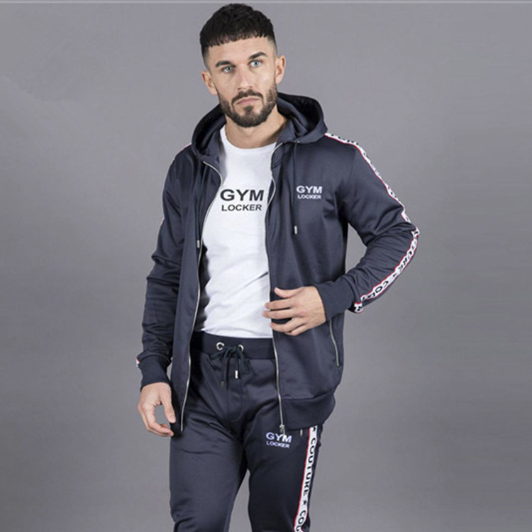 2018 nouveau Style sport ensemble Muscle Fitness nouveaux produits hommes cardigan à capuche pantalon deux pièces course Fitness costume