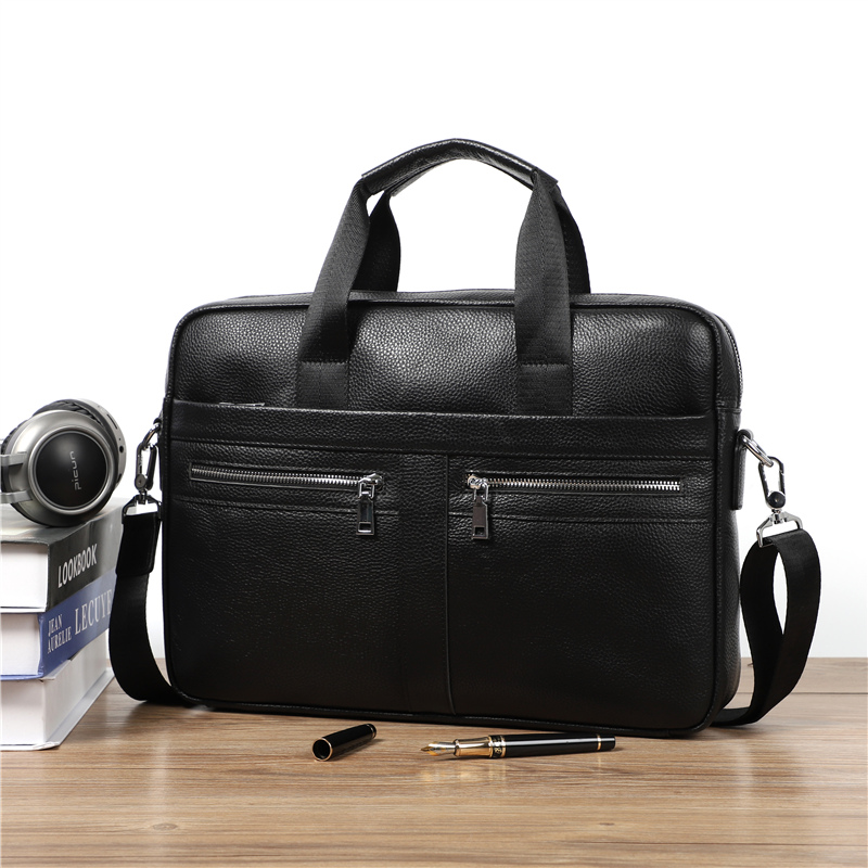 Nesitu New A4 Black 100% Genuine Leather 14'' Laptop Office Men Briefcase Portfolio Business Shoulder Messenger Bags M6001
