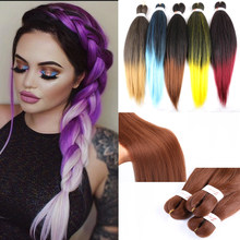 "Jumbo Braids Hair 20""26"" T1B/Brown Synthetic Braiding Hair Ombre Crochet Braids Pre Stretched Hair Extensions(China)"