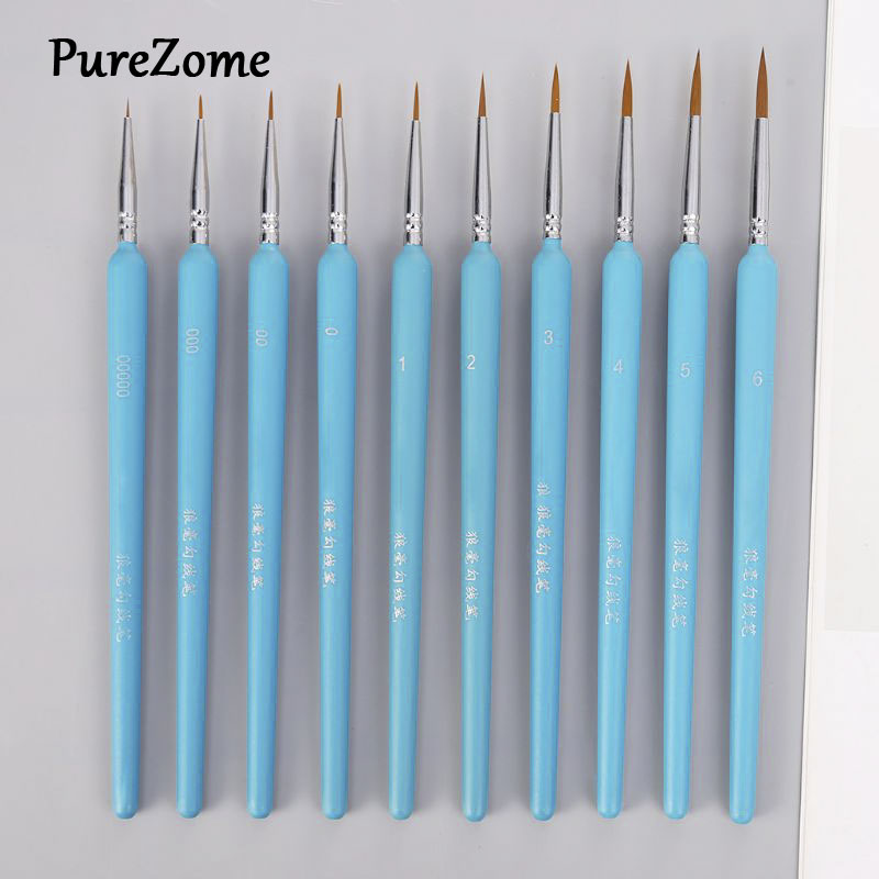 10Pcs/set Professional Wolf Hair Hook Line Pen Fine Painting Brush Pen Set Artist Watercolor Acrylic Paint Brush Art Drawing Sup