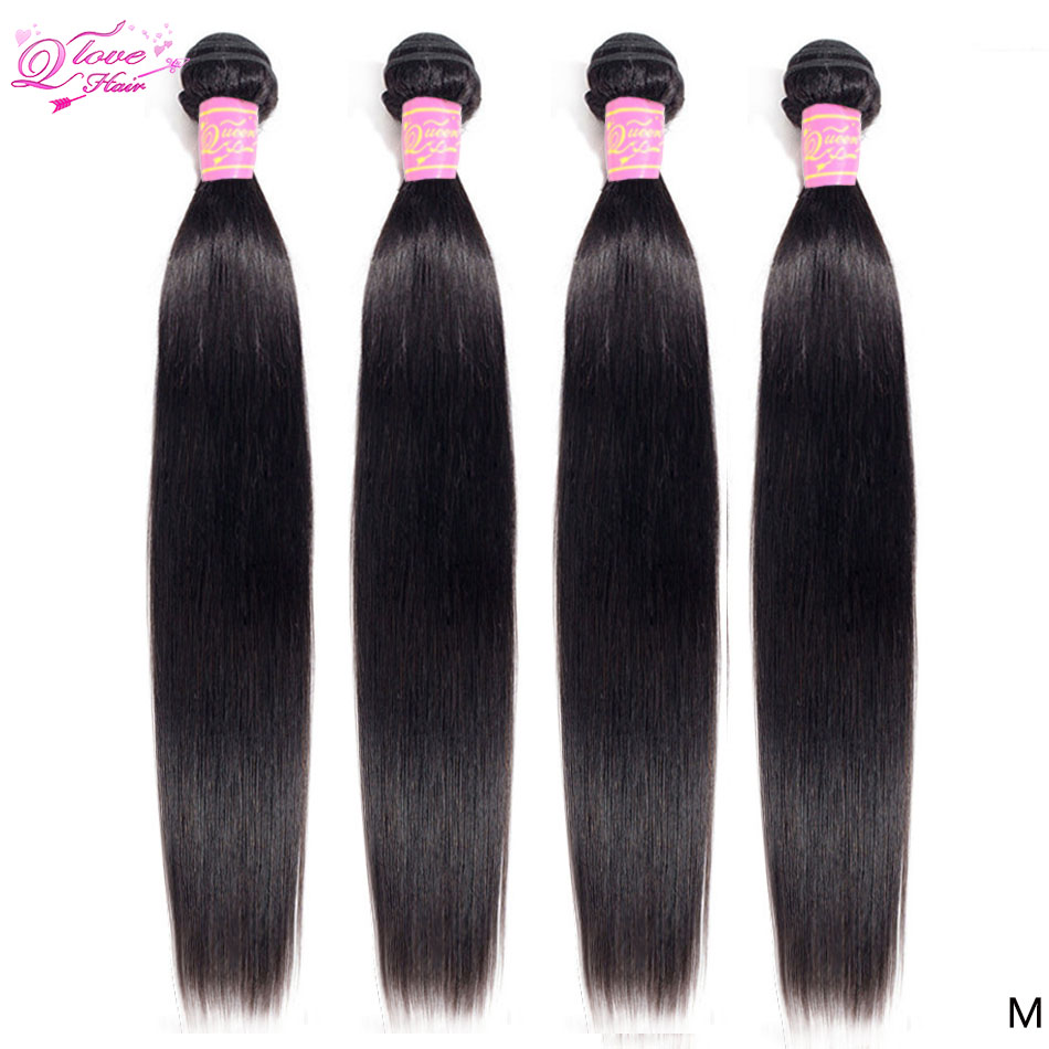 Queen Love Hair Brazilian Hair Weave Bundles Straight Hair Bundles 4 Pcs/Lot Remy Human Hair Bundles 8-28 Inch Natural Color
