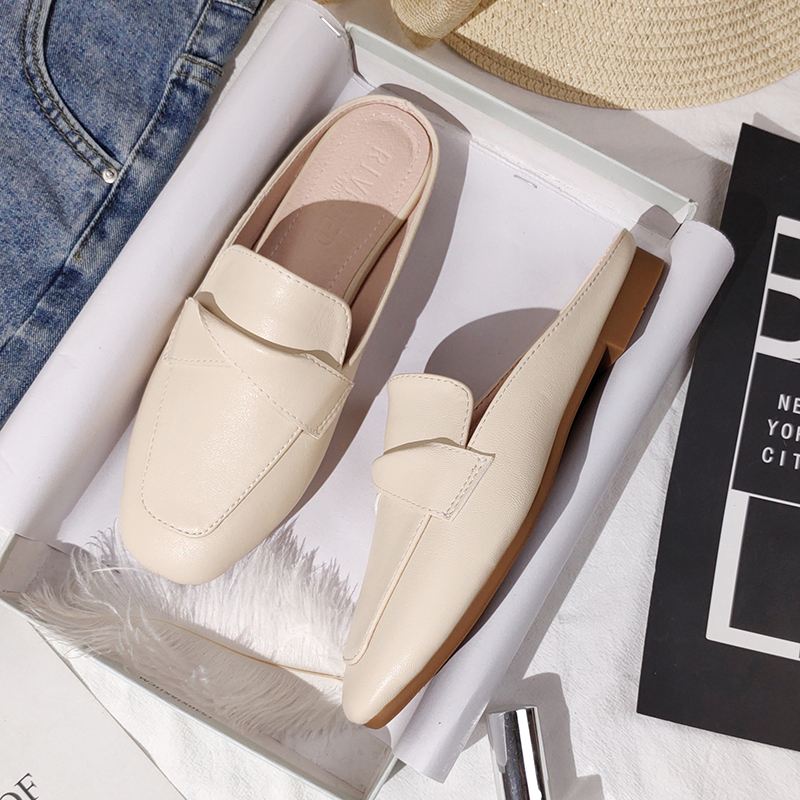 Women's slippers outdoor Women's slippers Flat Muller slippers Women's Fashion sandals 2021 new fashion leather shoes|Slippers| - AliExpress