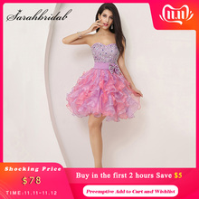 Colorful Ruffles Mini Graduation Dresses Puffy Beading Bow Cute Crystal Sweetheart Formal Homecoming Party Gown Organza SD131