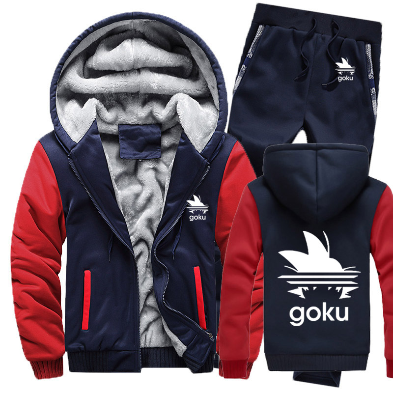 Winter Fleece Thicken Tracksuit Anime Dragon Ball Z Goku Cartoon Print Hoodies Men Suit Warm Sweatshirts Jacket+Pants 2Pcs Sets