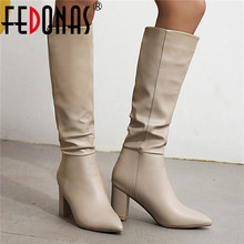 FEDONAS Sexy High Heels Boots Boots 2021 Autumn Winter Pointed Toe Knee High Boots Band Design Night Club High Heels Shoes Woman