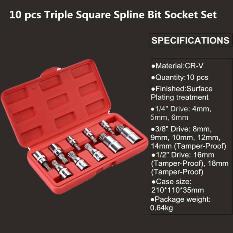 10pcs Vandium Steel XZN 12 Point MM Triple Square Spline Bit Socket S2 Steel 4-18mm Tool Set