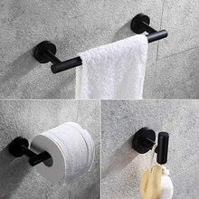 """Матовый черный набор из 3 предметов для ванной комнаты из нержавеющей стали настенное крепление-включает в себя 1"""" полотенцесушитель, держатель для туалетной бумаги, крючок для халата"""
