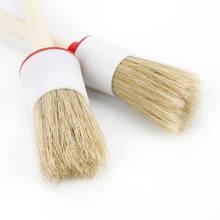 Car Wash Brush Cleaning Round Head Wood Handle Beige Faux Bristle Wheel Cleaning Brush for Dash Trim Seats Handy Auto