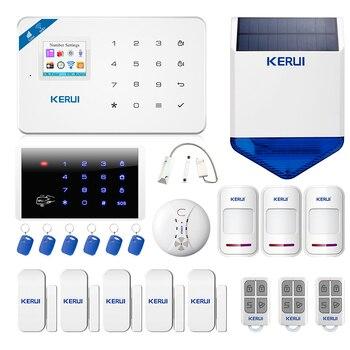 KERUI W18 Alarm System  WIFI GSM Home Security Wireless Motion Detection Door Sensor Alarm Kit With 110dB Outdoor Solar Siren