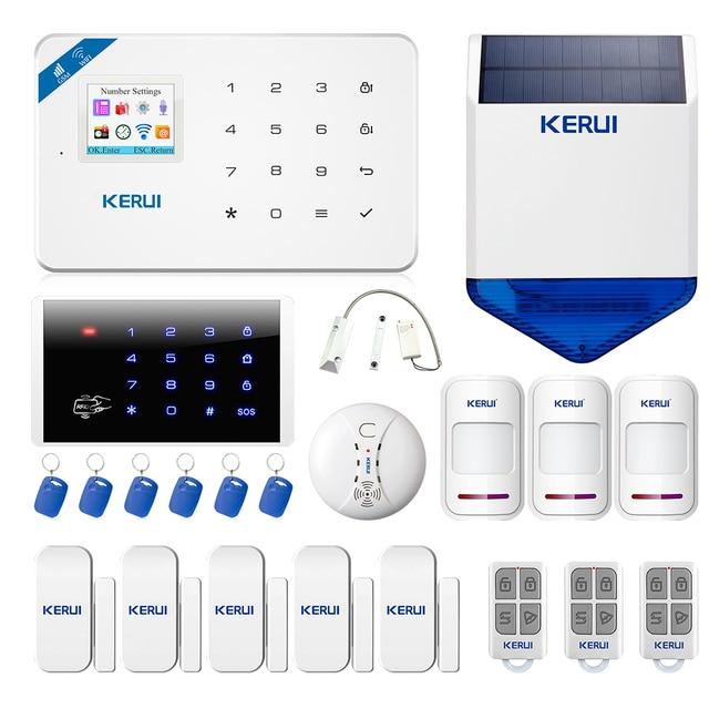 KERUI W18 نظام إنذار WIFI GSM أمن الوطن اللاسلكية كشف الحركة مستشعر الباب طقم إنذار مع 110dB في الهواء الطلق الشمسية صفارات الإنذار