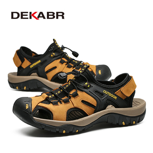 Image 3 - DEKABR New Summer Mens Shoes Outdoor Casual Shoes Sandals Genuine Leather Non slip Sneakers Hihg Quality Men Beach Sandals