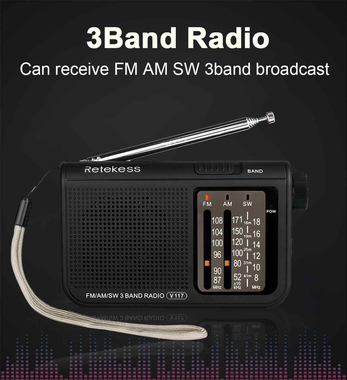RETEKESS V117 AM FM SW portátil superior Transistor de Radio receptor de Radio de onda corta de la batería avanzada sintonizador receptor