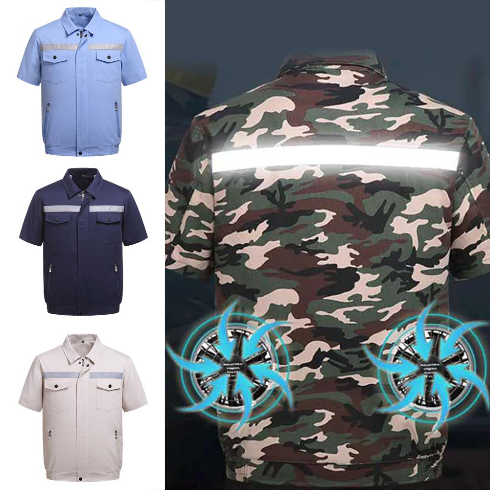 Summer Air Cooling Fan Reflective Strip Short Sleeve Jacket Working Top Coat Reflective Strips On Back And Front To Work Safer
