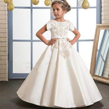 Beautiful Gold Embroidery Ivory Flower Girl Dresses For Wedding O Neckline Elegant First Holy Communion Girls Dresses