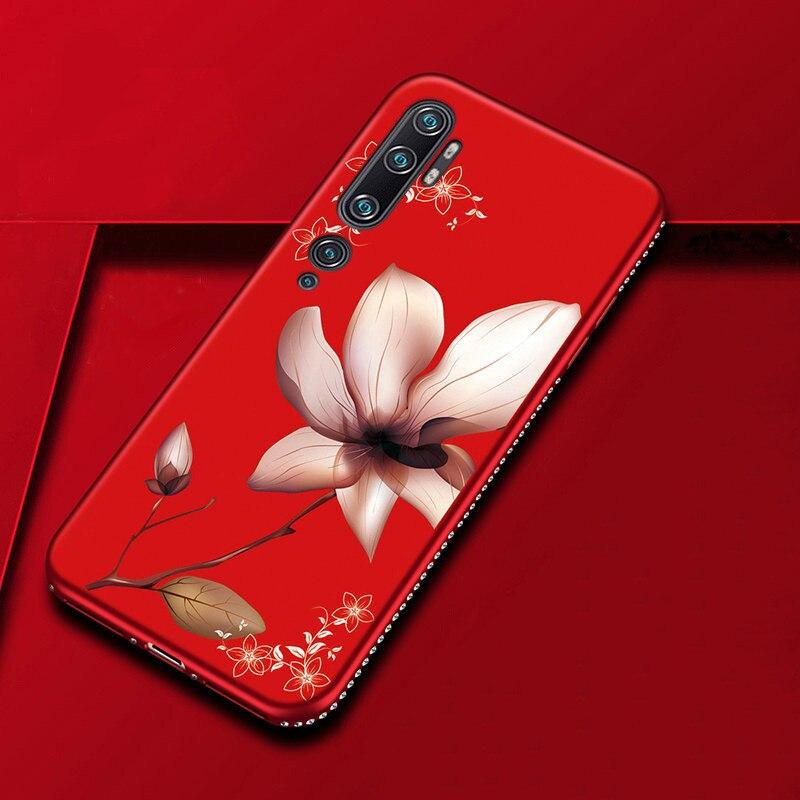 Soft TPU Floral Rhinestones Case For Xiaomi Redmi 8 8A 7A K20 K30 Pro Shining Cover For Xiaomi Mi CC9 9T 9 SE Note 10 Pro A3 A2