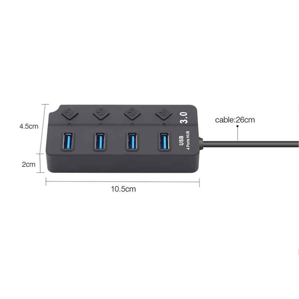 4 ports USB Hub 3.0 haute vitesse 5Gbps USB 3.0 Hub avec commutateur LED Multi USB séparateur adaptateur pour MacBook Pro ordinateur portable