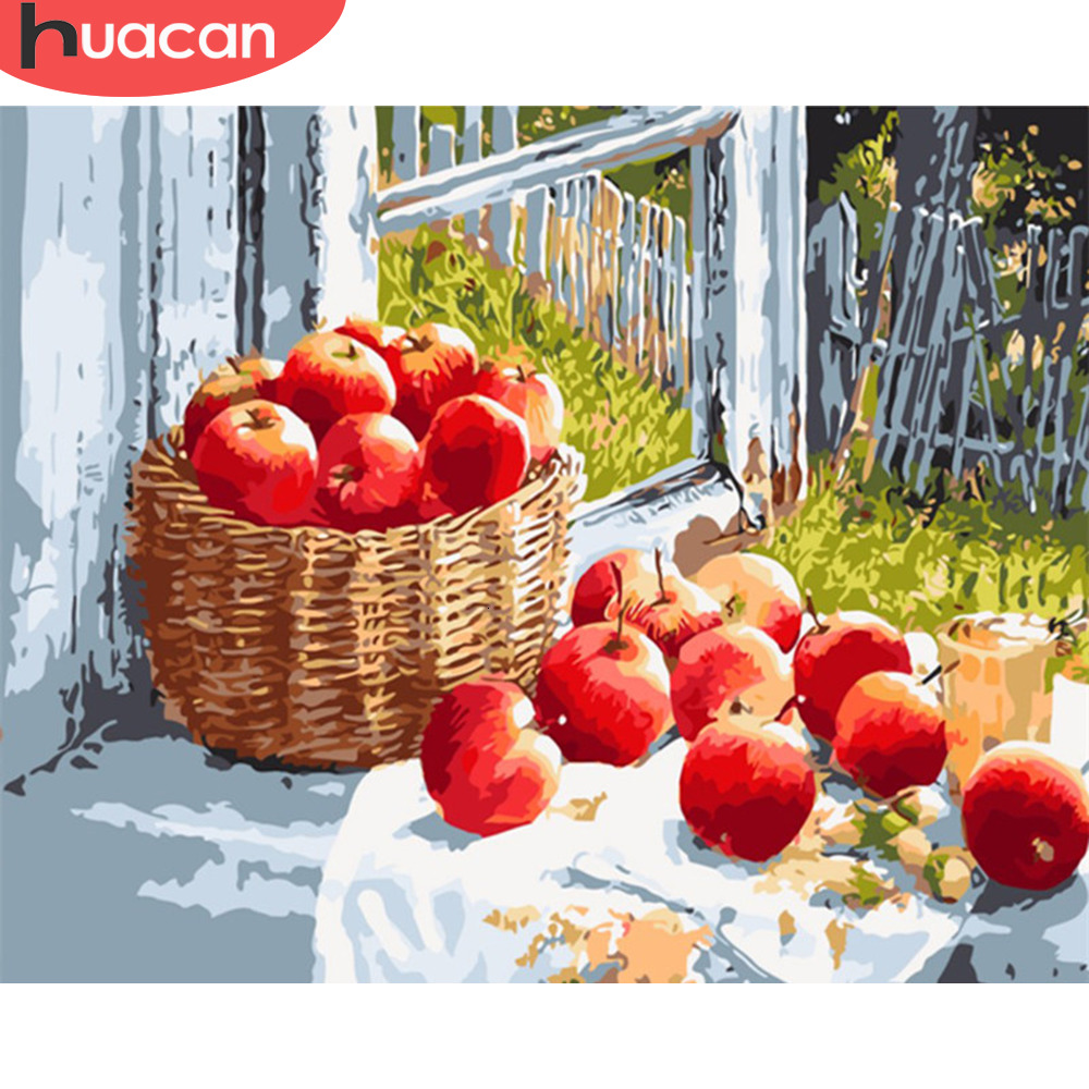 HUACAN Paint By Numbers Apple Fruits Kits Drawing Canvas HandPainted DIY Pictures Still Life Art Home Decor Gift