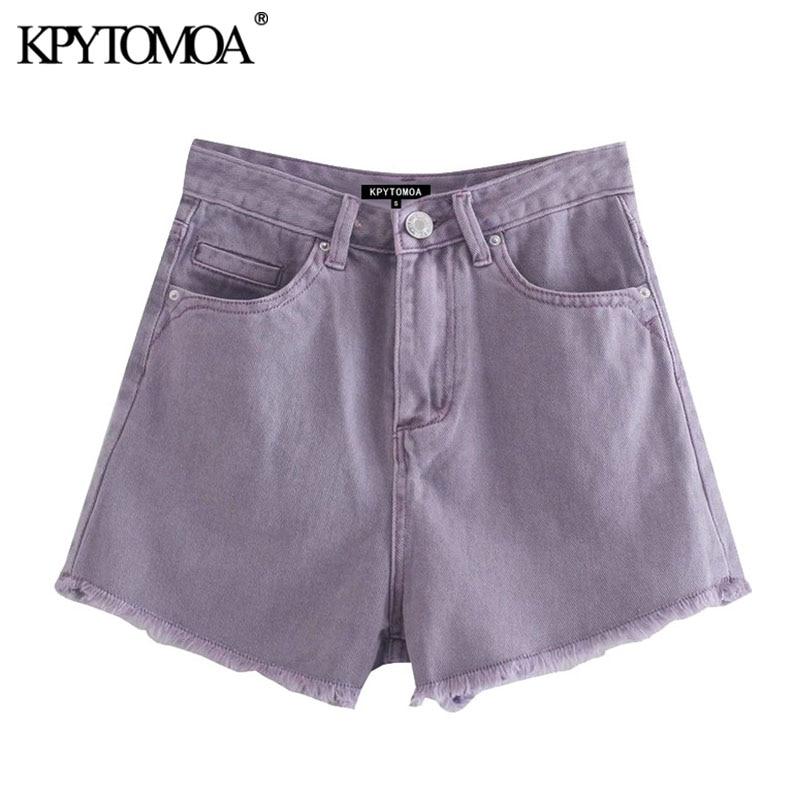 Women Vintage High Waist Mini Short Pants Frayed Raw Hem Ripped Distressed Denim Shorts