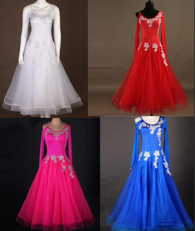 Ballroom Dance Dress Girl  Red Ballroom Dress  Ballroom White Royal Blue Dresses Standard Abiti Da Ballo Standard Red Pink Mq020