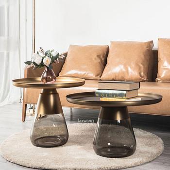 Nordic stolik kawowy luksusowy metalowy prosty okrągły stolik do herbaty dzwonek kreatywny Ins ręcznie robione szkło połączenie Ins boczny stolik tanie i dobre opinie FOSUHOUSE CN (pochodzenie) Montaż 70*42 Nowoczesna i minimalistyczna Nowoczesne ROUND