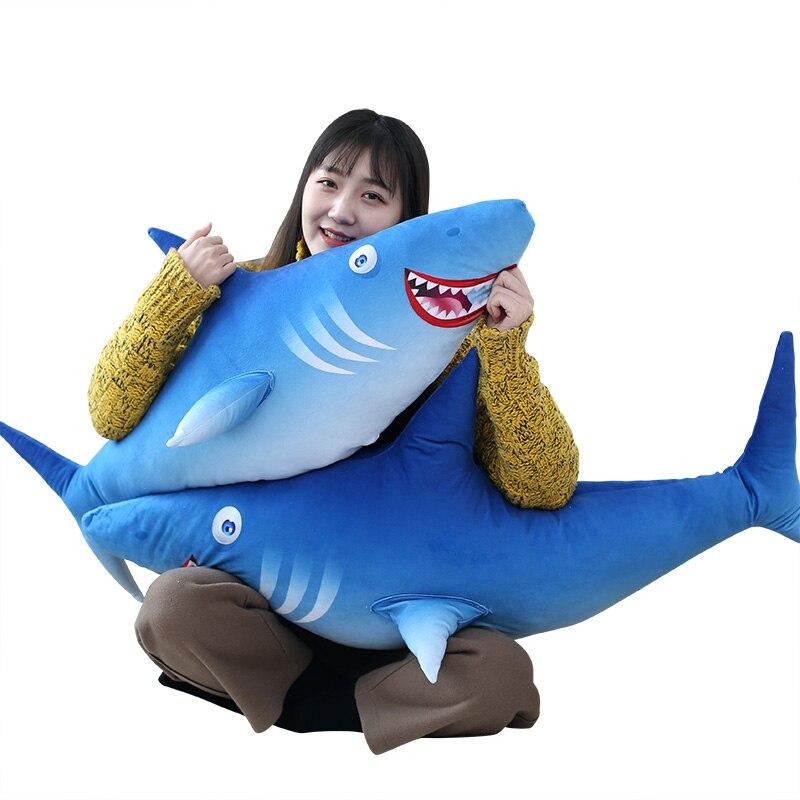 Nouveau Style bleu requin empreinte baleine animaux en peluche enfants anniversaire poupée jouet enfants cadeau
