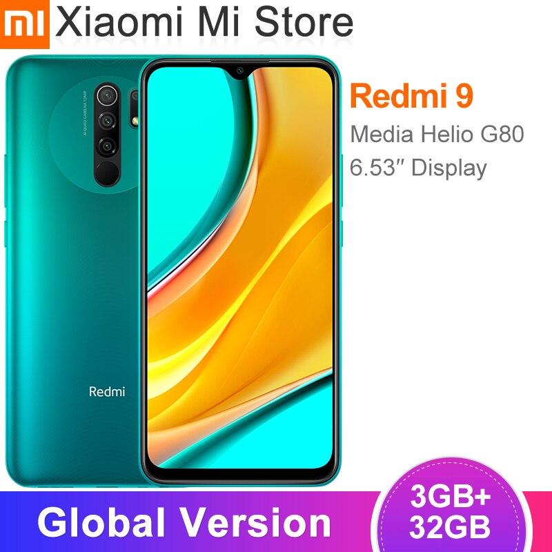 В наличии глобальная версия Xiaomi Redmi 9 смартфон, 3 Гб оперативной памяти, 32 Гб встроенной памяти, процессор Helio G80 Octa core 13MP AI Quad камера 6,53