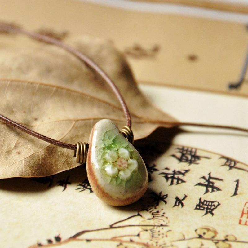 Индивидуальное разминаемое вручную керамическое цветочное ожерелье с подвеской простое винтажное ювелирное изделие в этническом стиле Мо...