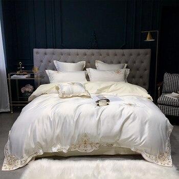4 шт., роскошные Сатиновые хлопковые комплекты постельного белья с вышивкой, двуспальные королевские постельные принадлежности, пододеяльн